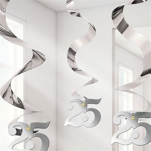 25th Wedding Anniversary Hanging Swirls