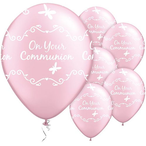 On Your Communion Butterflies Balloons Pink