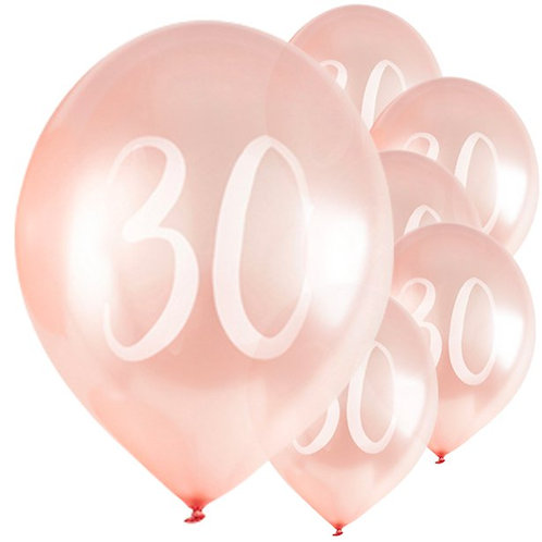 30th Birthday Rose Gold Latex Balloons