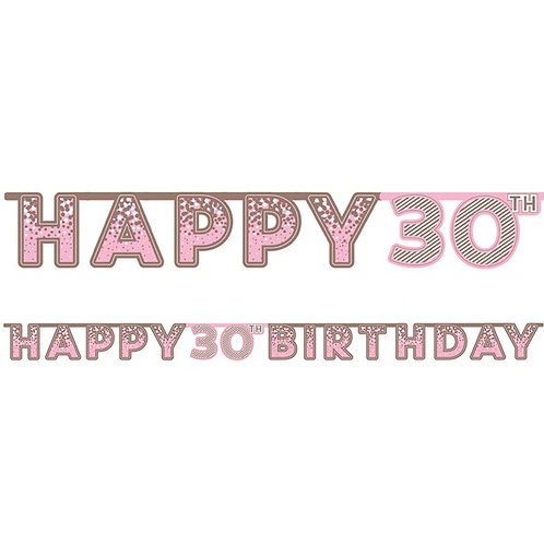 30th Happy Birthday Letter Banner Pink