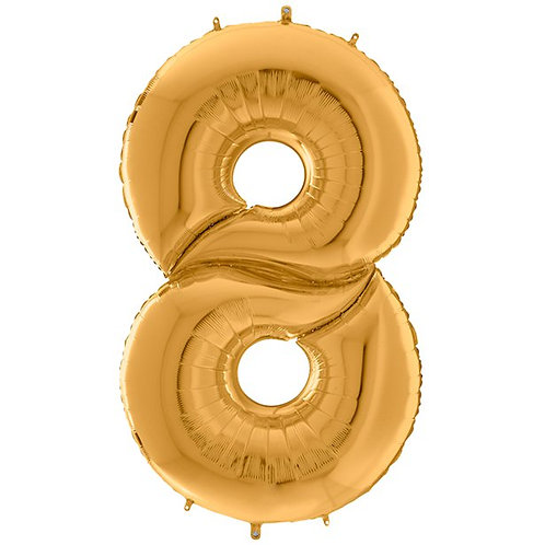 """Number 8 Gold Foil Balloon-64"""""""