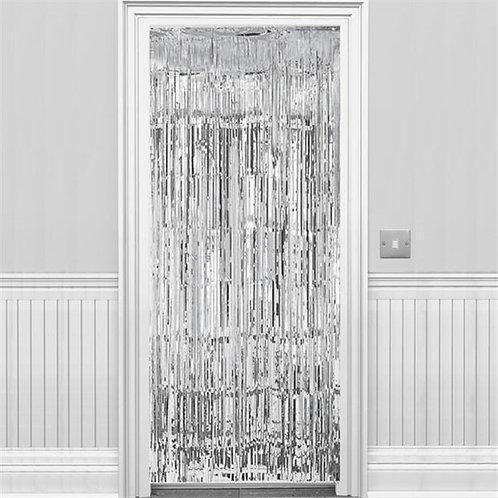 Metallic Fringed Door Curtain Silver