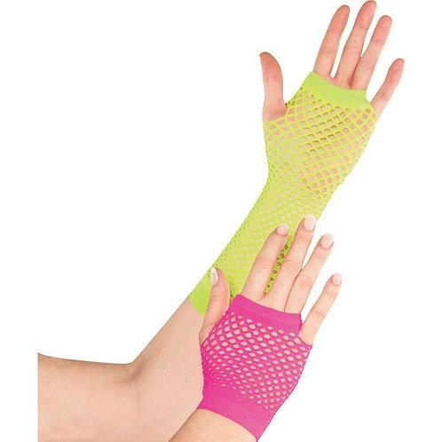 1980's Neon Fishnet Gloves