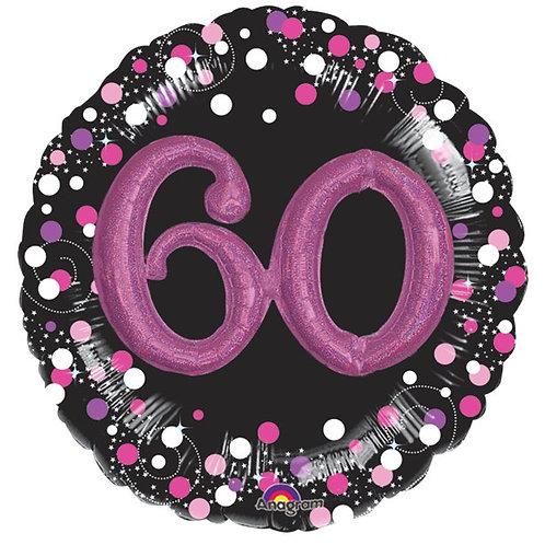 60th Sparkling 3D Foil Balloon Pink