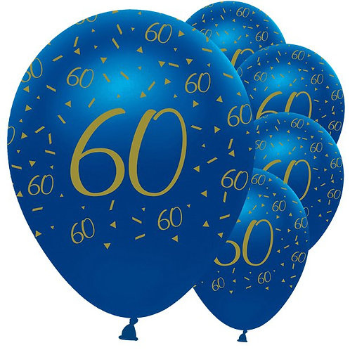 60th Happy Birthday Navy And Gold Balloons
