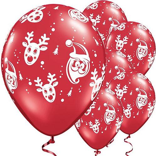 Santa & Rudolf Ruby Red Balloons