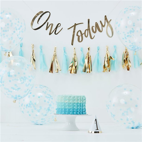 1st Birthday Pastel Blue Decorating Kit