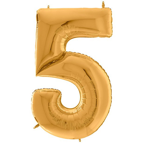 """Number 5 Gold Foil Balloon-64"""""""
