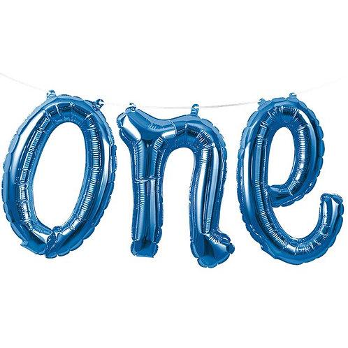 One Blue Phrase Balloon Bunting