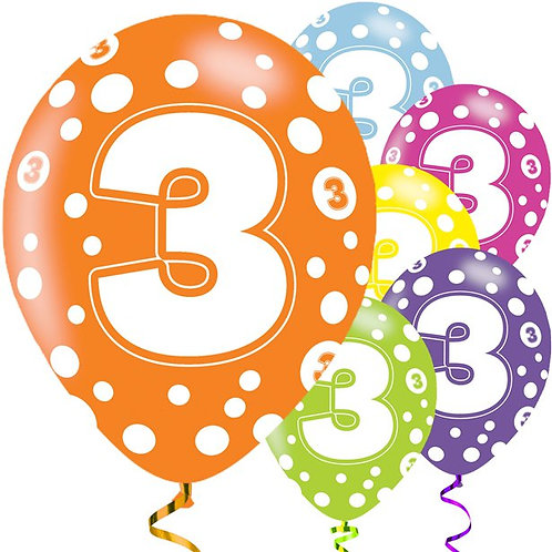 3rd Birthday Assorted Colour Balloons