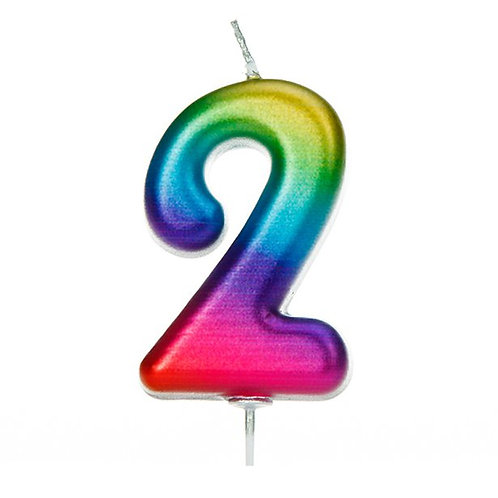 Number 2 Metallic Rainbow Candle