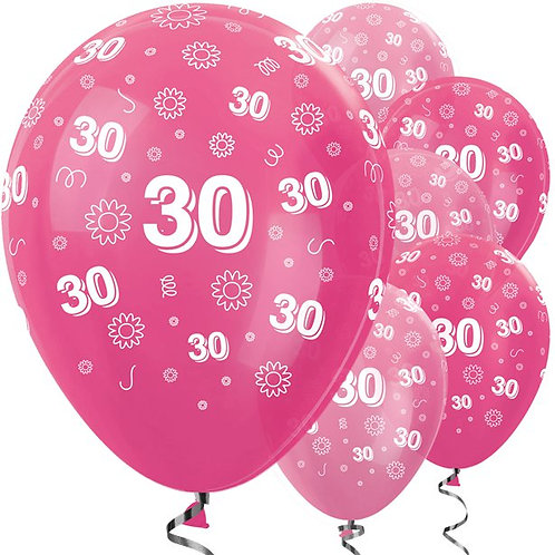 30th Birthday Pink Mix Flowers Latex Balloons
