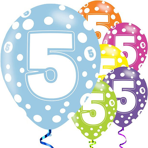 5th Birthday Assorted Colour Balloons