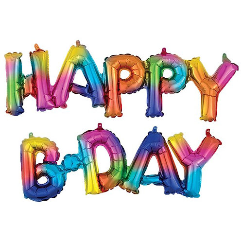 Happy Birthday Air Fill Rainbow Splash Phrase Foil Balloons