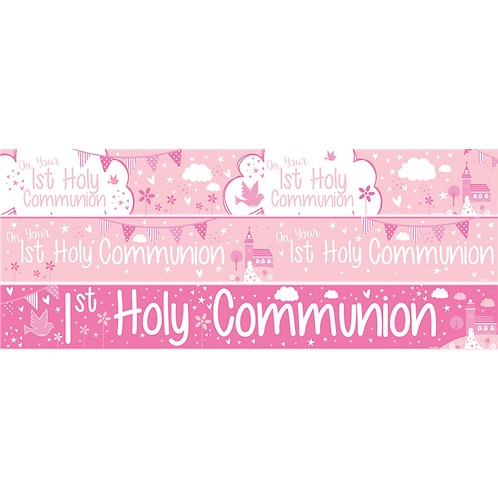 First Holy Communion Pink Paper Banners