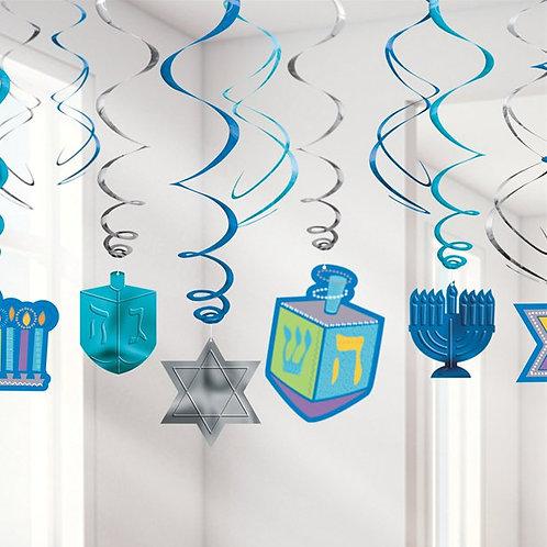 Hanukkah Hanging Swirl Decorations