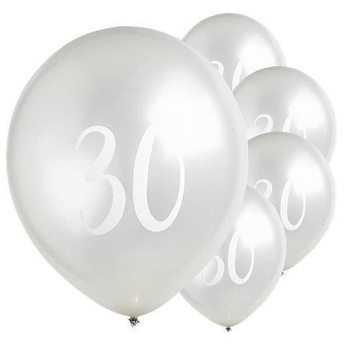 30th Birthday Silver Latex Balloons