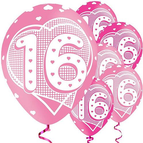 16th Birthday Pink Balloons