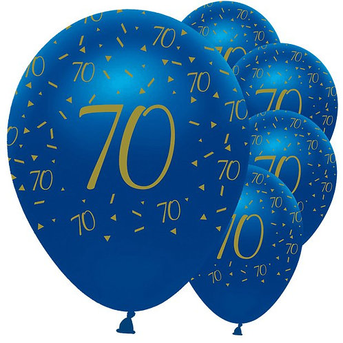 Happy 70th Birthday Navy And Gold Balloons