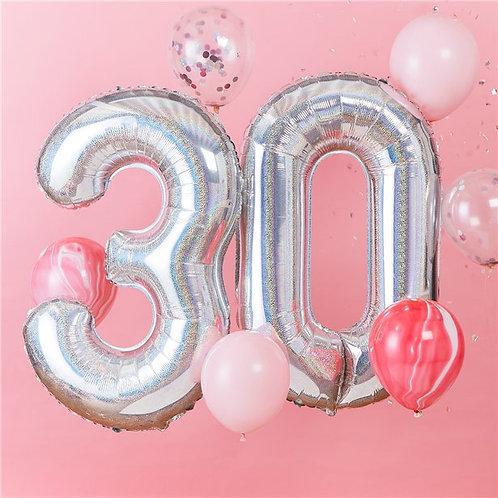 30th Iridescent Balloon Kit