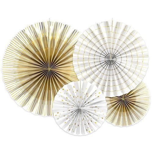 White & Gold Mix Fan Decorations