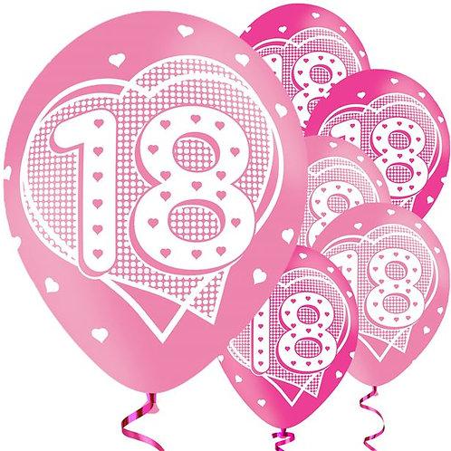 18th Birthday Pink Latex Balloons