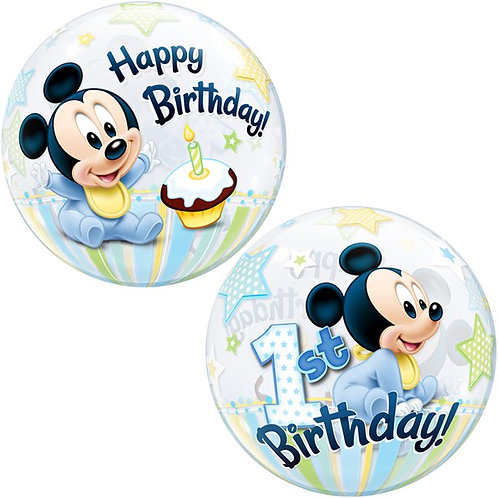 1st Birthday Mickey Mouse Blue Bubble Balloon