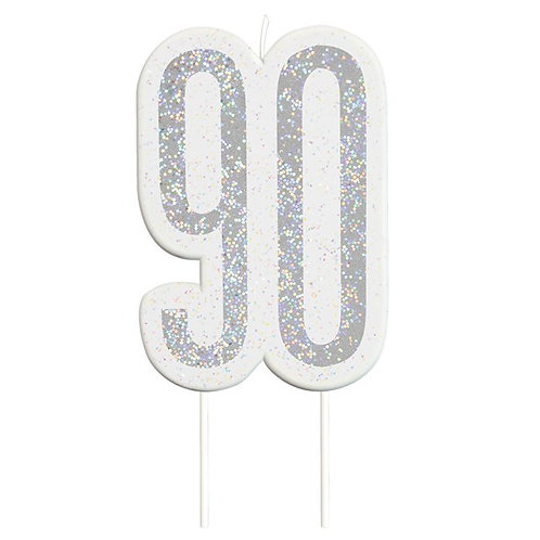 90th Birthday Silver Glitter Cake Candle