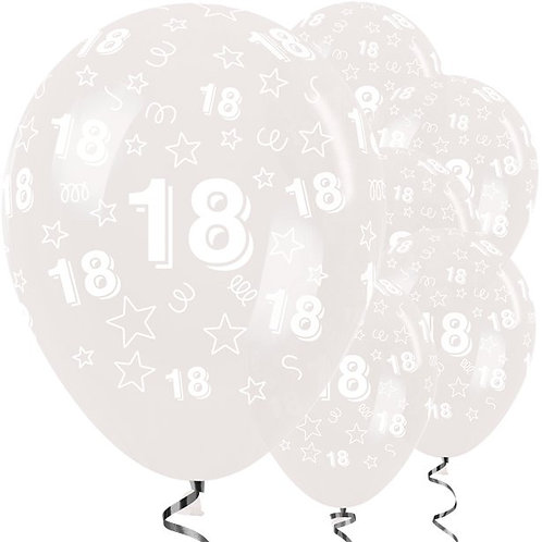 18th Birthday Clear Stars Latex Balloons
