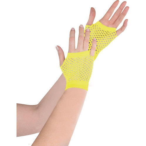 Ladies Short Fishnet Fingerless Yellow Gloves