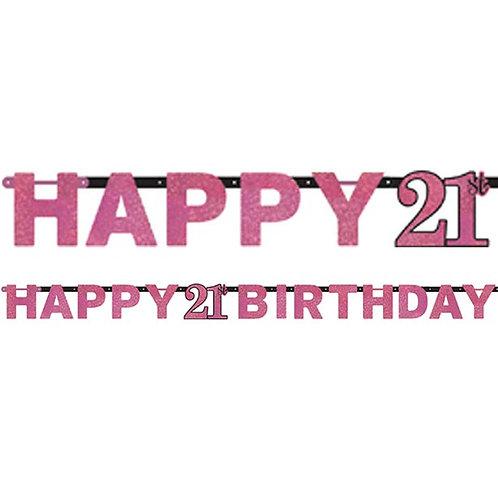 21st Pink Celebration Prismatic Letter Banner