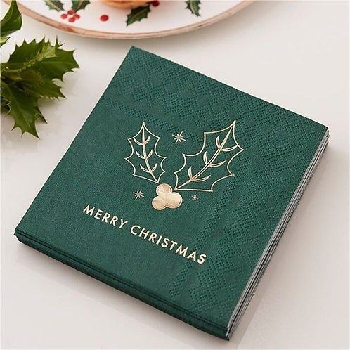 Merry Christmas Foil Napkins