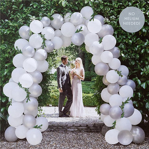 Balloon Arch Kit White And Silver