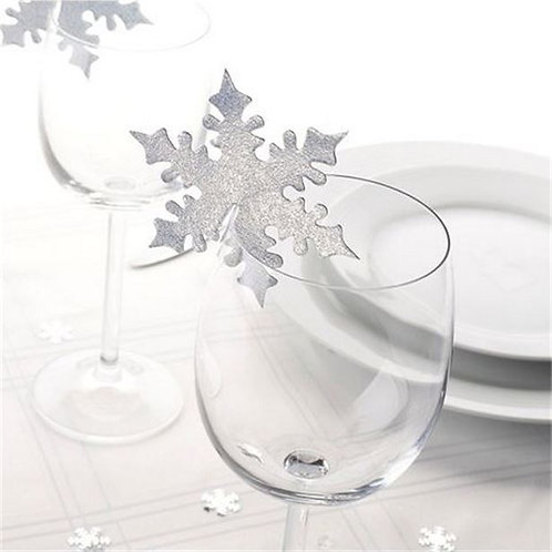 Silver Snowflake Place Cards for Glasses