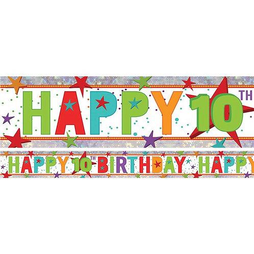 10th Birthday Multi Coloured Banner