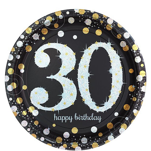 30th Birthday Gold Celebration Party Plates