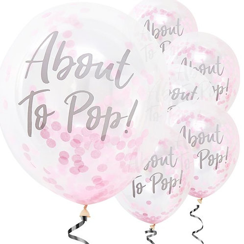 About To Pop Pink Confetti Latex Balloons