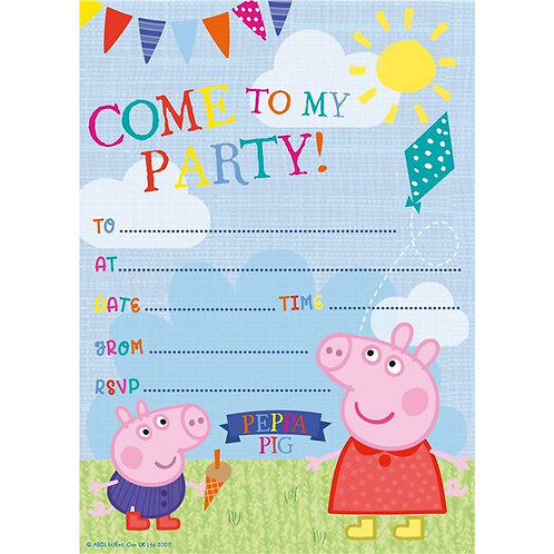 Children's Peppa And George Party Invites. Pack Of 20