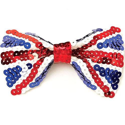 Union Jack Sequin Bow Tie