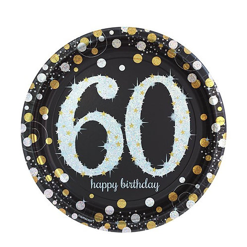 60th Birthday Party Plates Gold & Silver