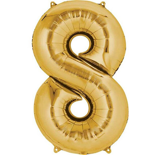 Gold Air Fill Number 8 Foil Balloon