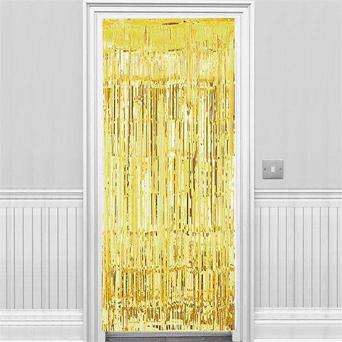 Metallic Fringed Door Curtain Gold