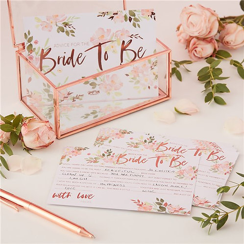 Hen Party Floral Bride To Be Advice Cards