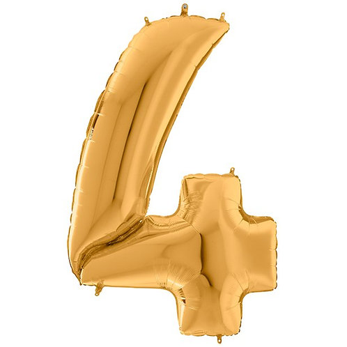 Number 4 Gold Foil Balloon 64""