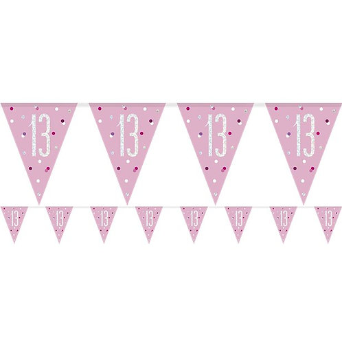 13th Birthday Flag Bunting Banner Pink