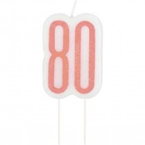80th Rose Gold Cake Candle