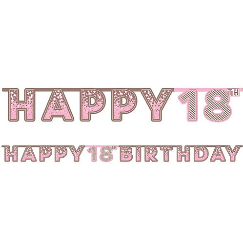 18th Happy Birthday Letter Banner Pink