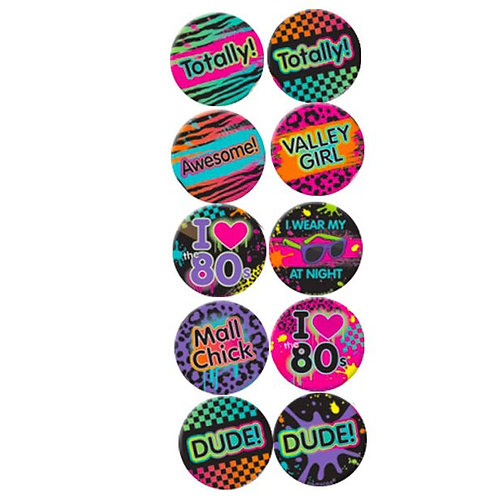 1980's Party Button Badges