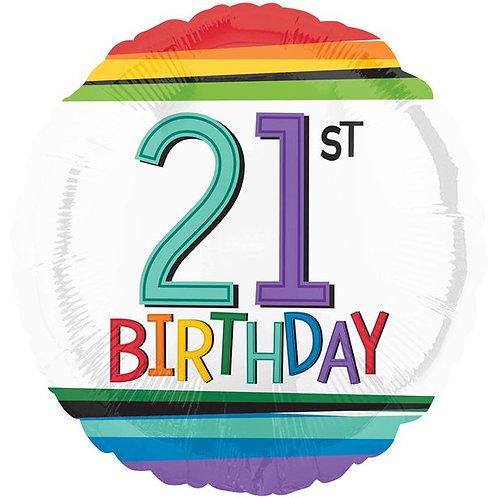 21st Birthday Rainbow Foil Balloon