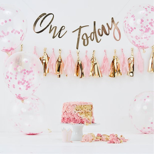1st Birthday Pastel Pink Decorating Kit